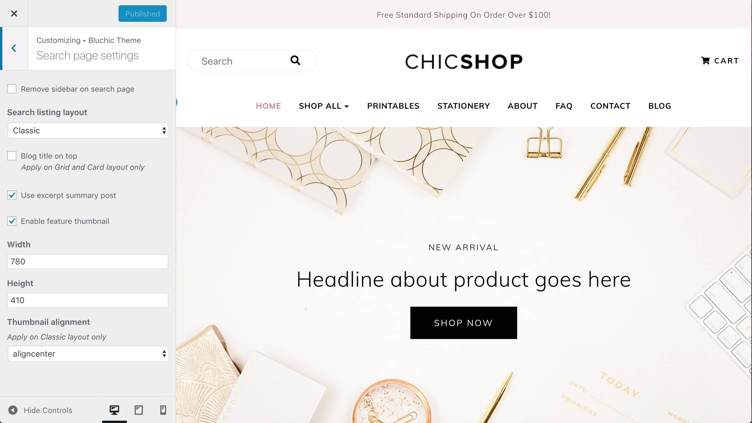 ChicShop search page settings