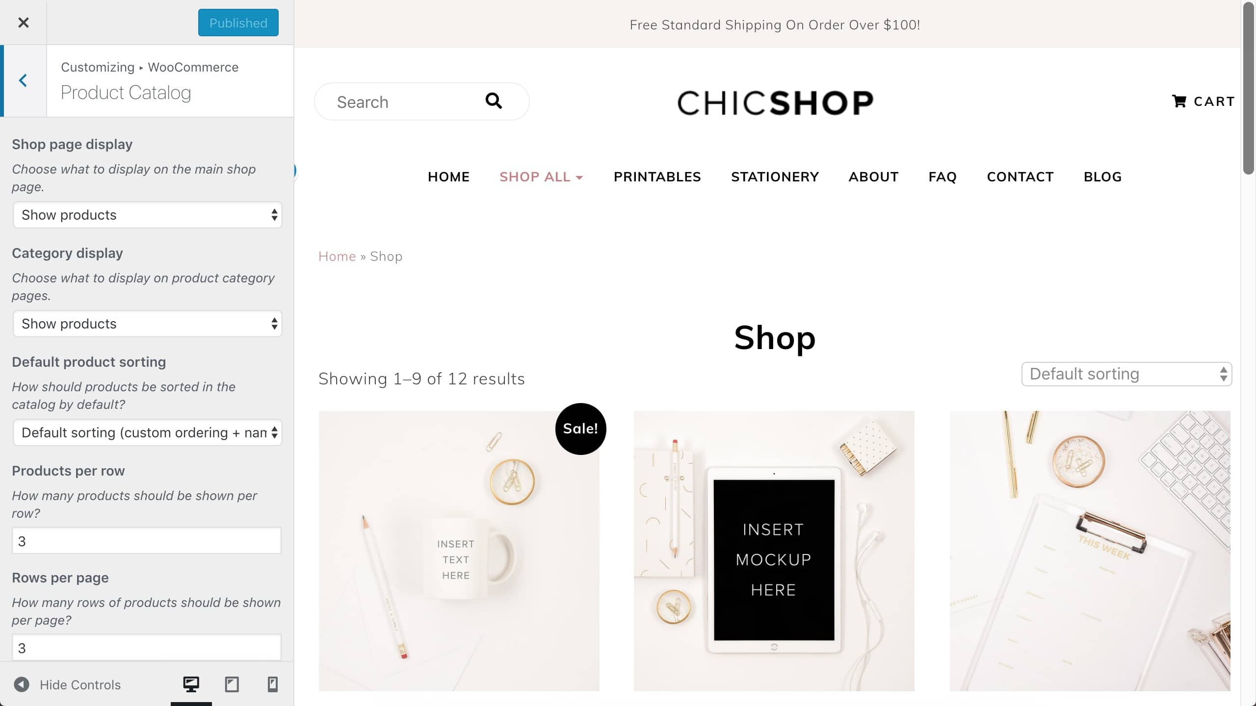 ChicShop WooCommerce product catalog settings