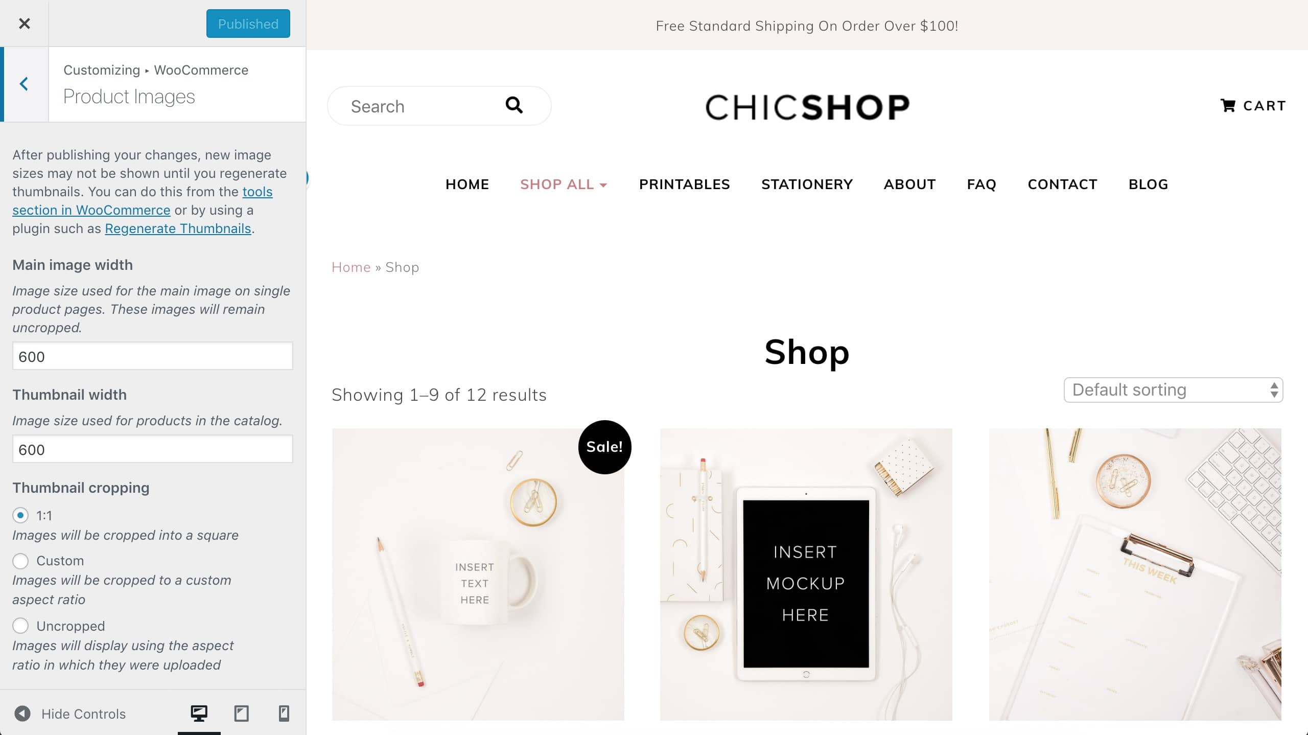 ChicShop WooCommerce product image sizes