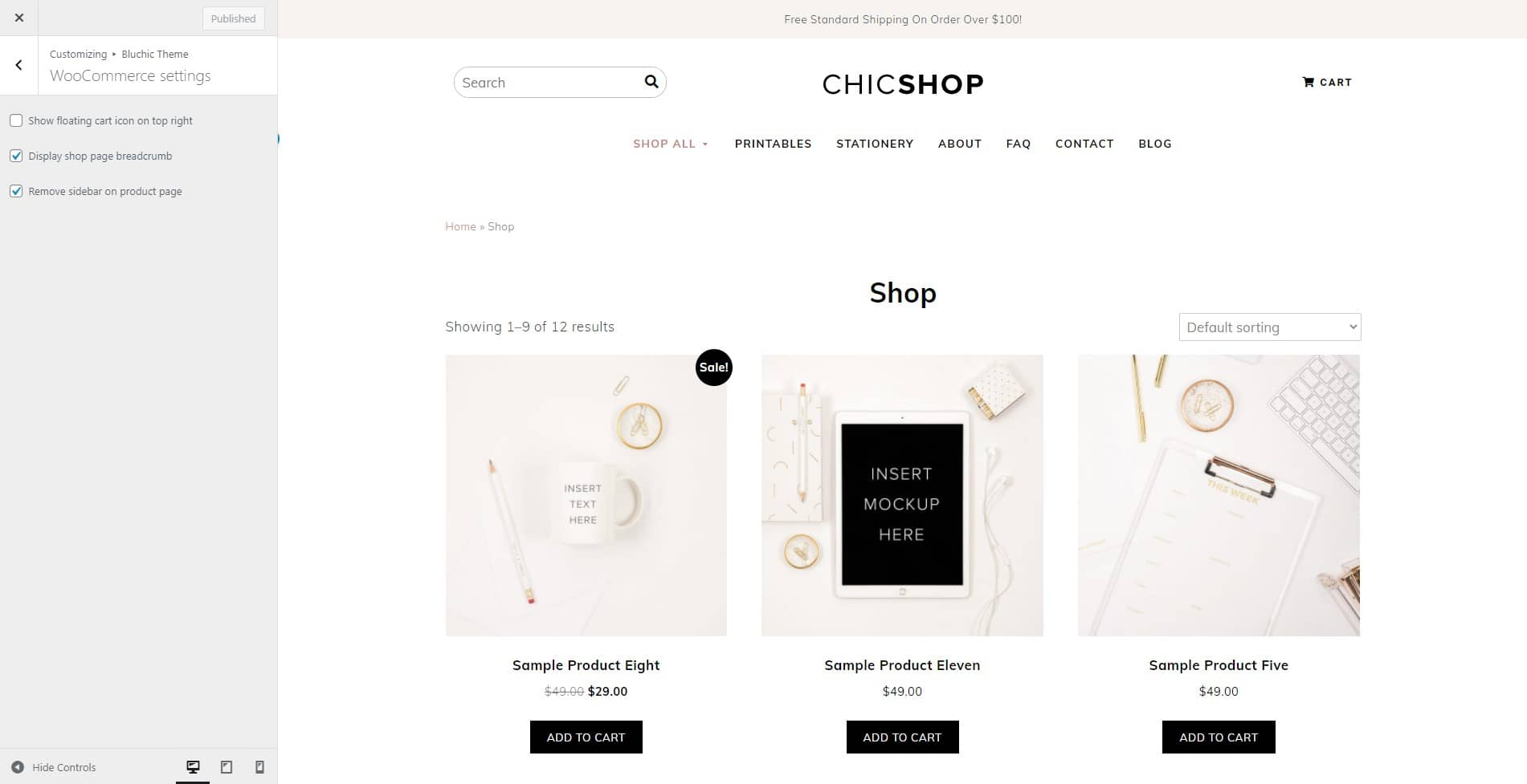 ChicShop WooCommerce settings