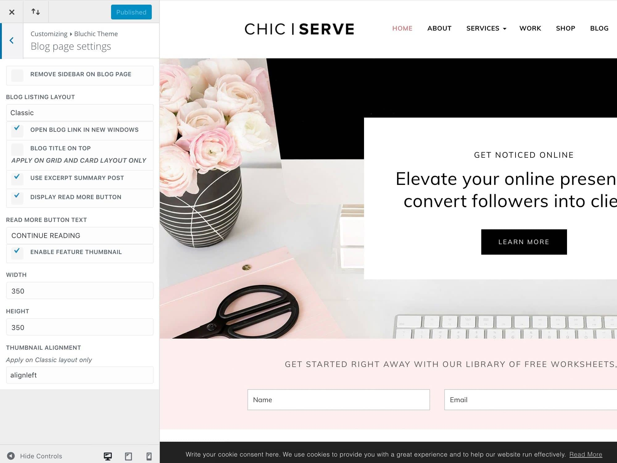 Divi ChicServe Blog page settings