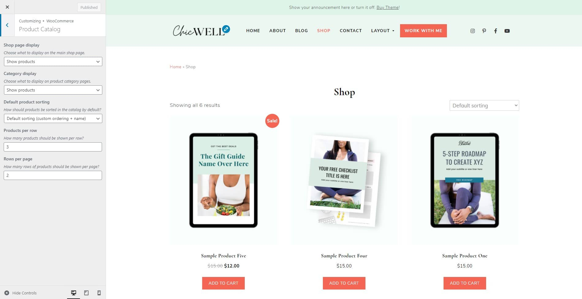 ChicWell WooCommerce product catalog settings