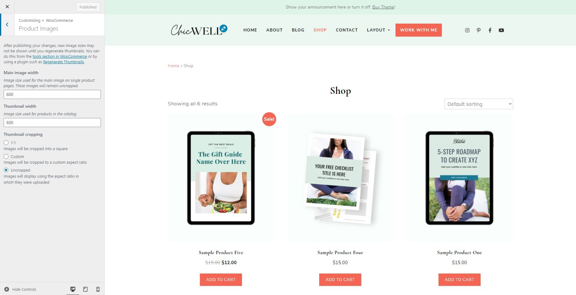 ChicWell WooCommerce product image sizes