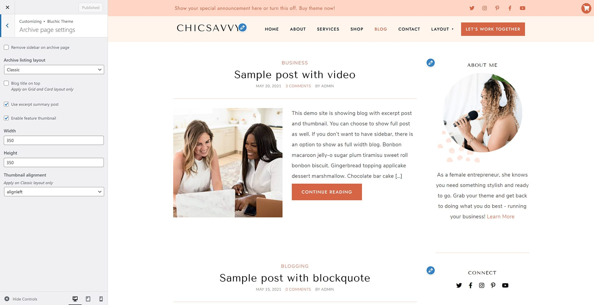 ChicSavvy archive page settings