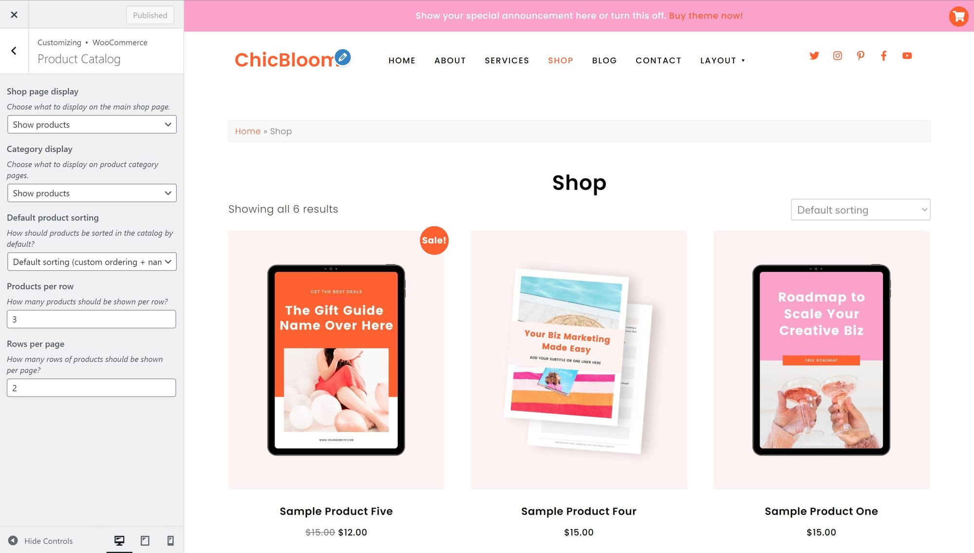 ChicBloom WooCommerce product catalog settings