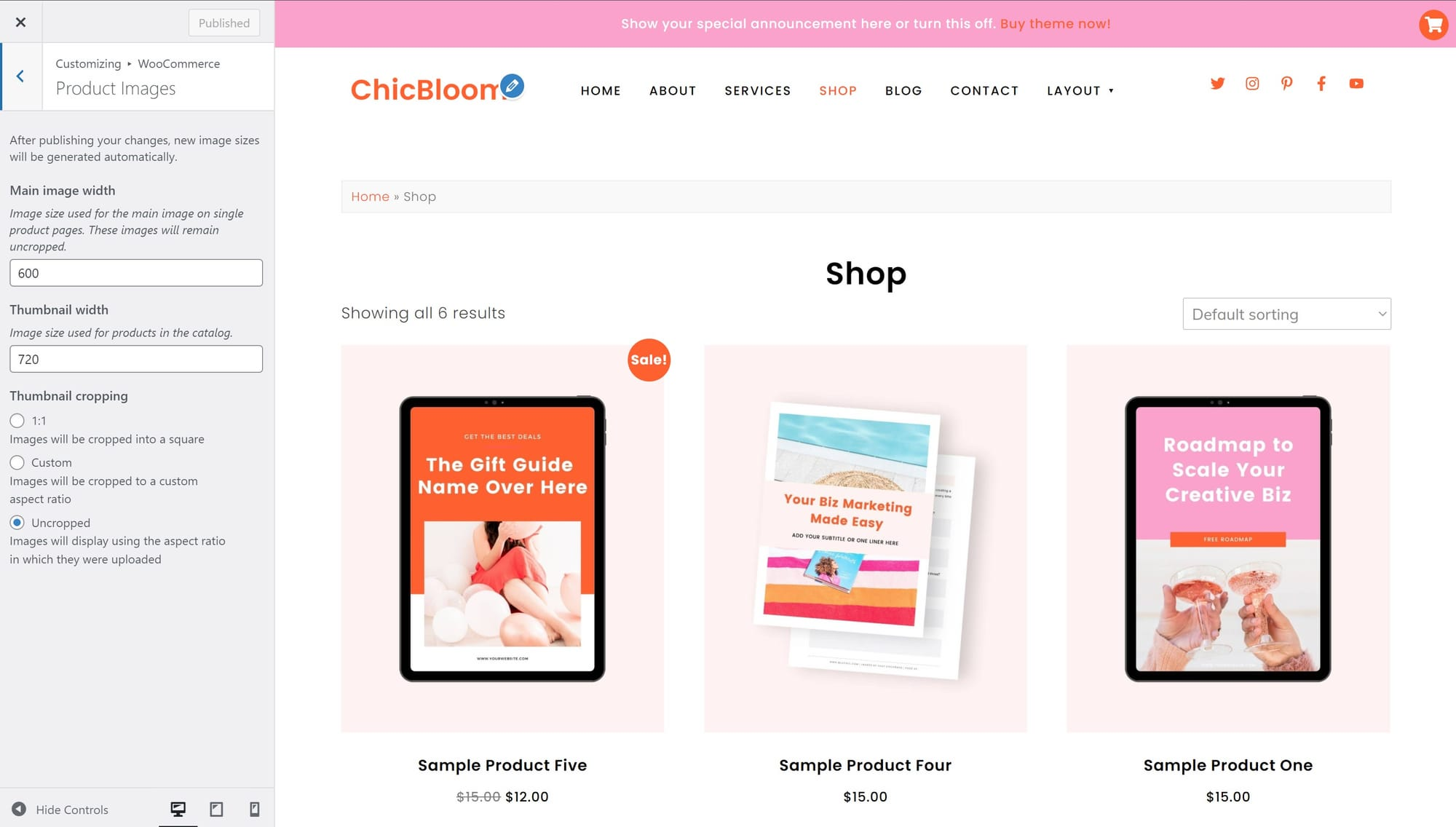 ChicBloom WooCommerce product image sizes